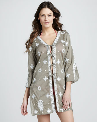 Embroidered Tie-Front Coverup