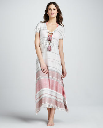 Striped Short-Sleeve Maxi Dress