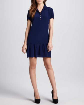 Ruffle-Hem Polo Dress