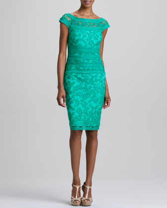 Cap-Sleeve Lace-Overlay Cocktail Dress