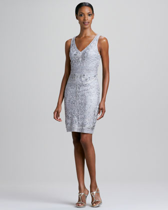 Sleeveless Soutache V-Neck Cocktail Dress