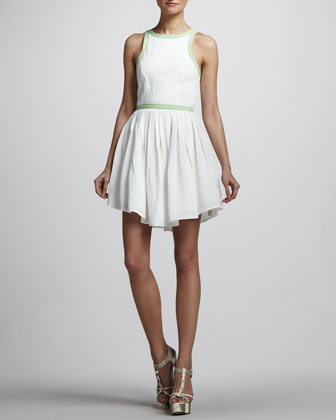 Contrast-Trim Sleeveless Dress
