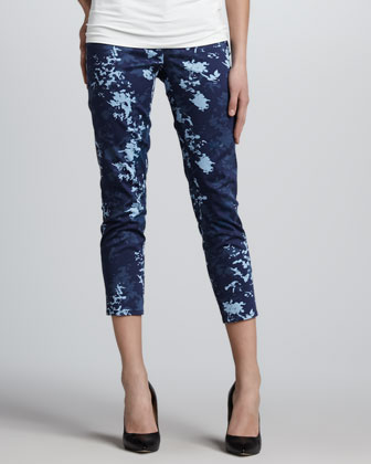 Miranda Printed Ankle Jeans, Blue Cloud
