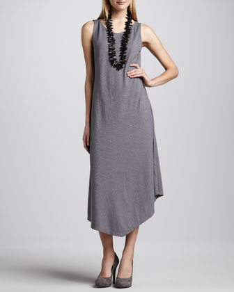 Handkerchief-Hem Slub Maxi Dress