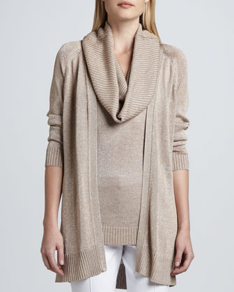 Open Front Metallic Knit Cardigan