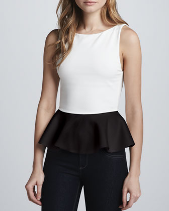 Sleeveless Peplum Top, White/Black