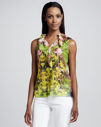 Selena Tropical-Print Ruffle Blouse