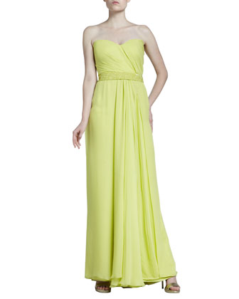 Mousseline Strapless Gown, Light Citron