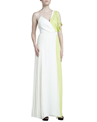Colorblock Asymmetric Georgette Gown