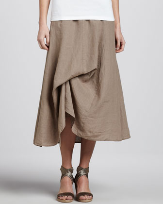 Handkerchief Linen Cinchable Long Skirt