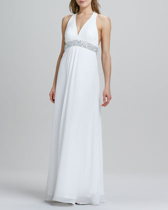 Halter Beaded-Waist Chiffon Gown