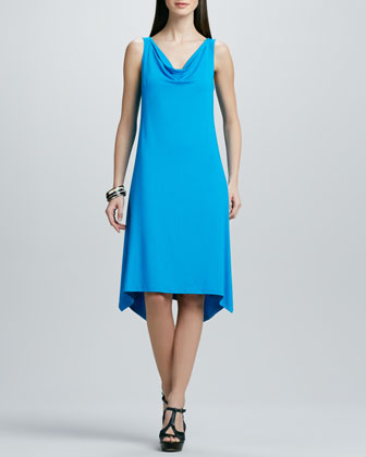Cowl-Neck Washable Jersey Dress, Women's