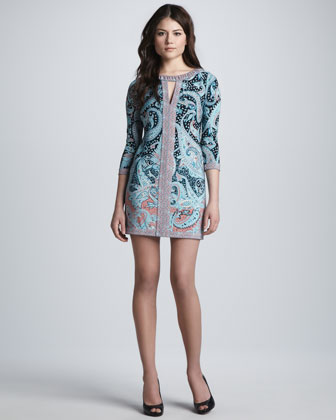 Coral Reef Paisley-Print Dress