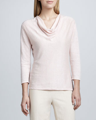 Cowl-Neck Linen Sweater