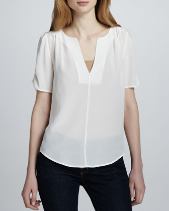 Women's Joie Amone Silk V-Neck Top, Porcelain