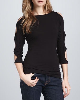 Cutout-Sleeves Top, Black