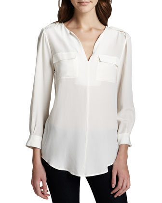 Women's Joie Marlo Silk Double-Pocket Top, Porcelain