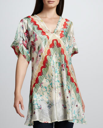 Biya Flower-Print Silk Tunic