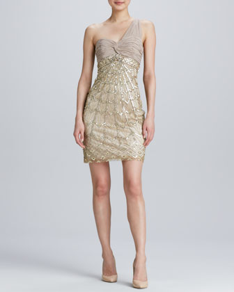 One-Shoulder Beaded Cocktail Dress