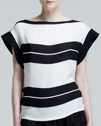 Chavelli Striped Silk Top