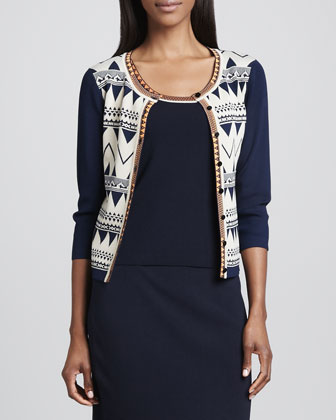 Jacquard Scroll Cardigan