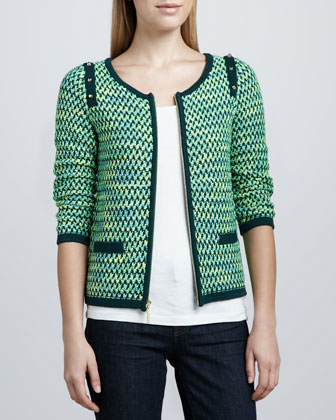 Textured Zip-Front Jacket, Petite