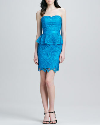 Strapless Peplum Lace Cocktail Dress