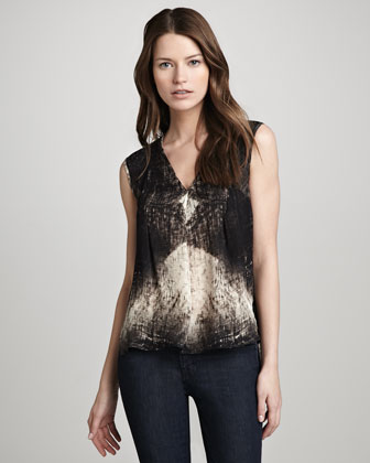 Printed V-Neck Drape Top