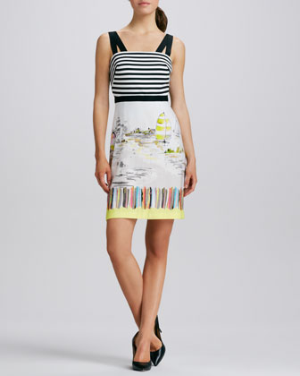 Striped-Bodice Printed-Skirt Dress