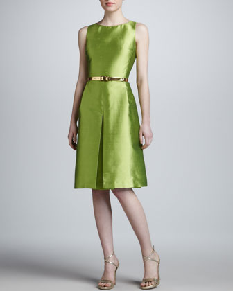 Bateau-Neck Pleated Dress