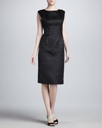 Textured Cap-Sleeve Dress