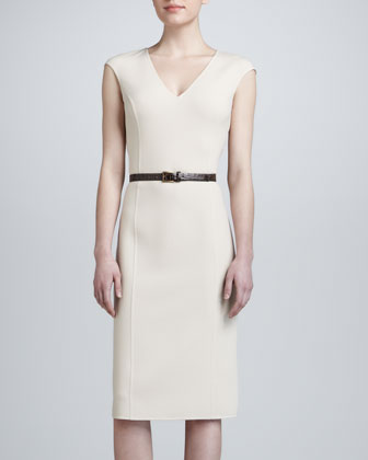 V-Neck Cap-Sleeve Sheath Dress