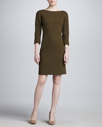Three-Quarter-Sleeve Wool Dress