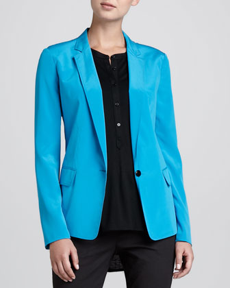 One-Button Stretch-Silk Jacket