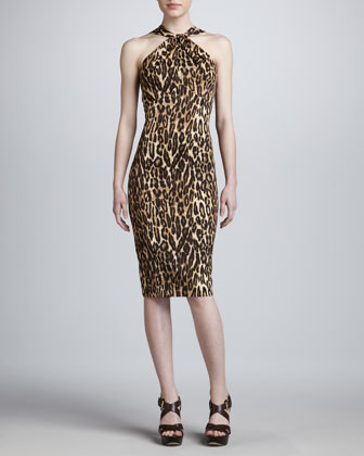 Leopard-Print Halter Twist Dress
