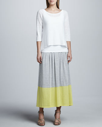 Long Colorblock Jersey Skirt