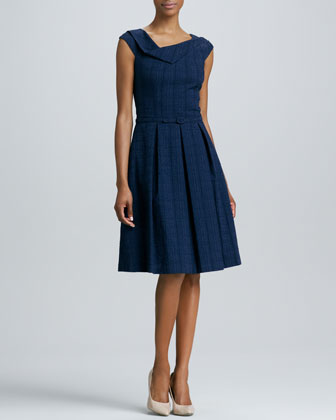 Asymmetric-Neck Belted Full-Skirt Dress