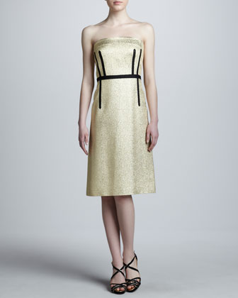 Metallic Strapless A-Line Dress