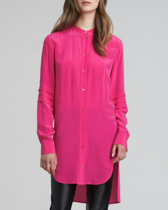 High-Low Crepe de Chine Tunic, Pink