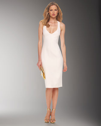 Crepe Crossback Sheath Dress, White