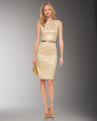 Metallic Brocade Sheath Dress, Gold