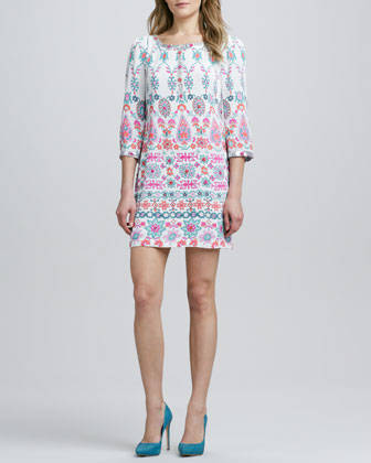 Printed Beaded Shift Dress