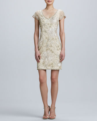 V-Neck Embroidered Cocktail Dress
