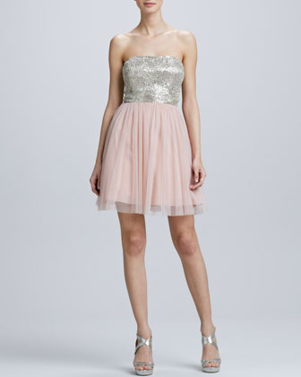 Strapless Beaded Chiffon Cocktail Dress