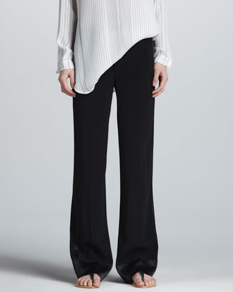 Satin-Trim Crepe Pants