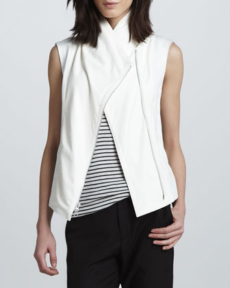 Mix-Fabric Asymmetric Vest