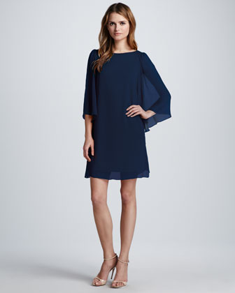 Odette Flutter-Sleeve Dress, Navy