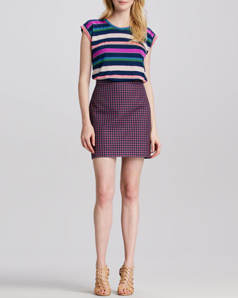 Clover-Check Pencil Skirt
