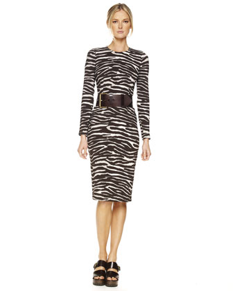 Zebra-Print Long-Sleeve Sheath Dress