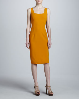 Square-Neck Crepe Dress